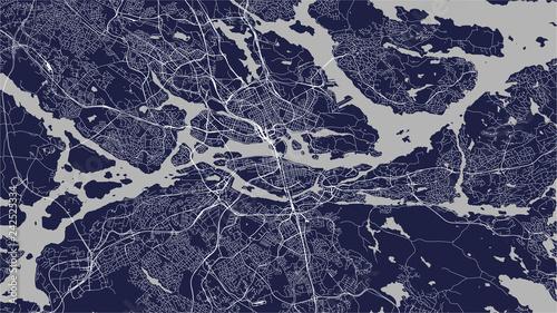 Fotografie, Obraz map of the city of Stockholm, Sweden