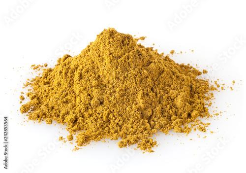Valokuvatapetti Pile of curry powder isolated on white background