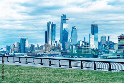 Fotografie, Obraz Hudson Yards skyscrapers and Manhattan skyline in New York City as seen from Jer