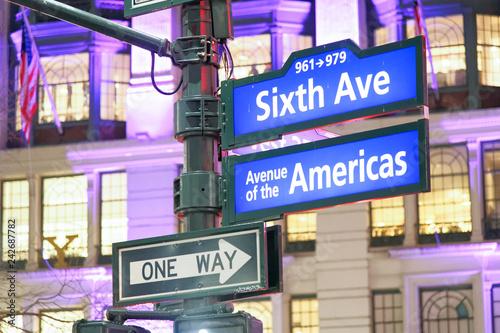 Sixth Avenue - Avenue of the Americas sign at night in Manhattan, New York City Fototapeta