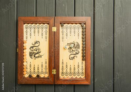 Obraz na płótnie Backgammon, oriental board game, wooden backgammon, backgammon road, sports game