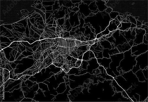 Fotografie, Obraz Dark area map of Taipei, Taiwan