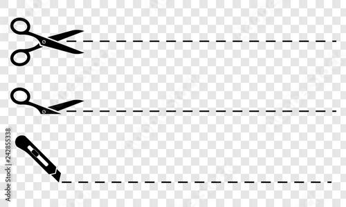 Fotografia Scissors. Set of black scissors with cut lines