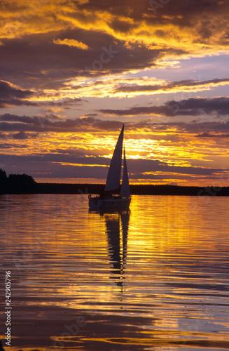 Sailboat on the Nidzkie lake, Masuria, Poland