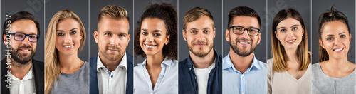Fototapeta premium Kolaż portretów ludzi biznesu zróżnicowanych etnicznie.