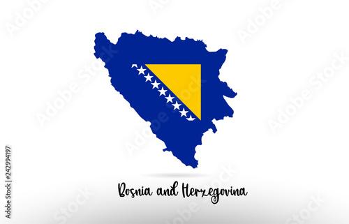 Photo Bosnia and Herzegovina country flag inside map contour design icon logo