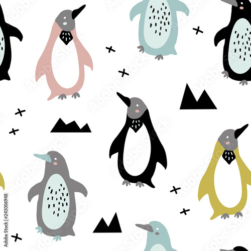 Canvas Print vector seamless background pattern with funny baby penguins for fabric, textile