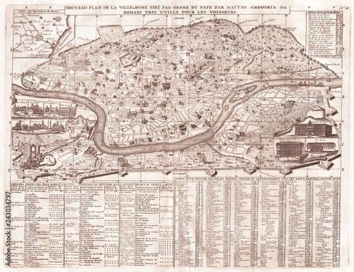 Obraz na plátně Old Map of Rome, Italy, 1721, Chatelain Plan
