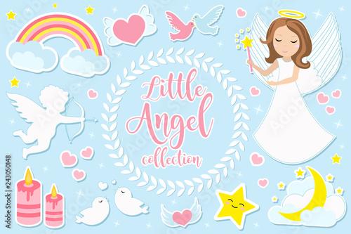 Carta da parati Little angel girl character set of objects