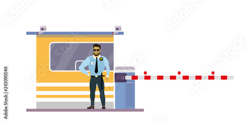 Photo Male security guard at toll booth, uniformed officer or protective agent near ga