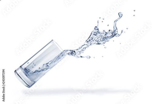 Glass with spilling water splash. Side view. On white background.