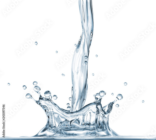 Pouring water with crown splash. Side view