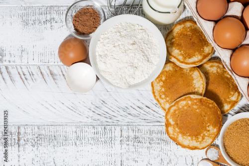 ingredients for baking pancakes, top view
