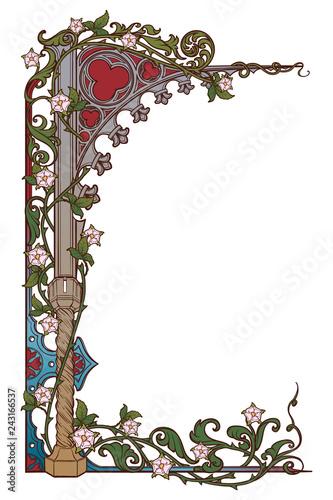 Obraz na płótnie Medieval manuscript style rectangular frame