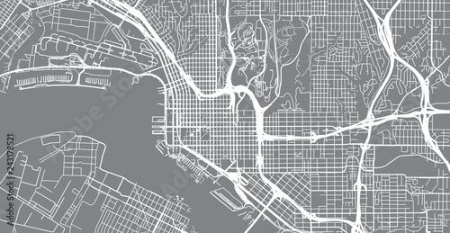 Obraz na plátně Urban vector city map of San Diego, California, United States of America