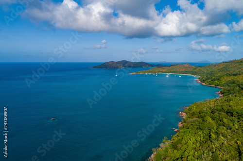 Fotografie, Obraz Aerial view of beautiful island at Seychelles in the Indian Ocean
