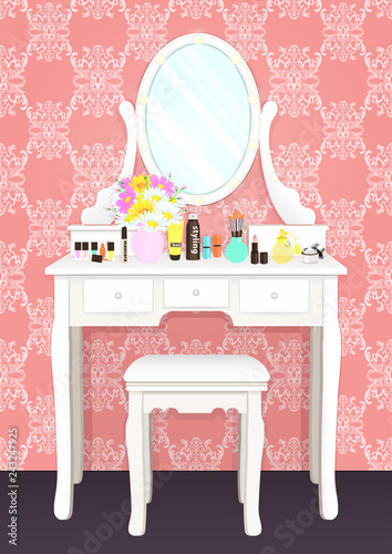 Fotografia Dressing table with mirror with lights, female boudoir for makeup, flat drawing, vector illustration