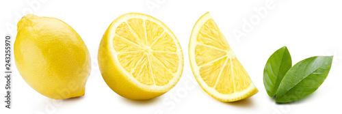 Fotografie, Obraz Set of lemons and leaves, isolated on white background