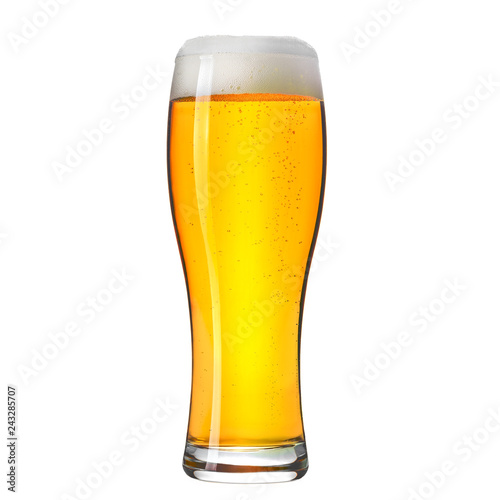 Carta da parati Pint of craft lager beer isolated on white background.