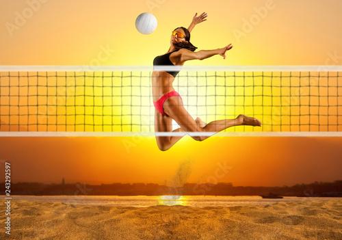Female volley ball beach  player