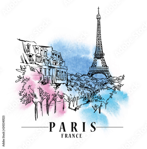 Photo Paris vector illustration.
