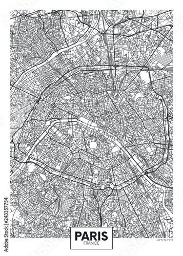 Fototapeta Mapa miasta Paryż czarno-biała do pokoju