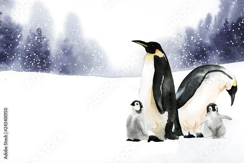 Fototapeta premium Pingwiny w wektor akwarela zima czarów