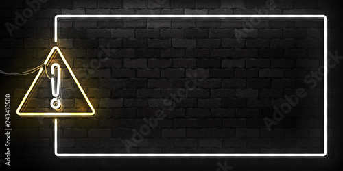 Fototapeta Vector realistic isolated neon sign of Warning frame logo for decoration and covering on the wall background