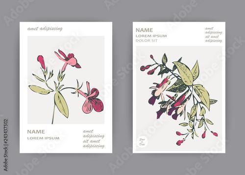 Fotografia Botanical wedding invitation card template design, hand drawn fuchsia pink flowe
