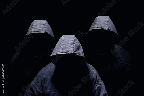 Wallpaper Mural Three mysterious men silhouette with darkened face, no visible face, in blue hoo