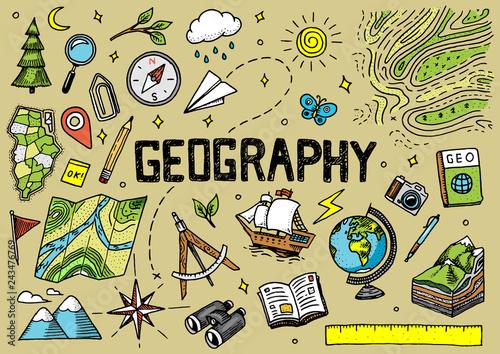 Fotografie, Tablou Set of geography symbols