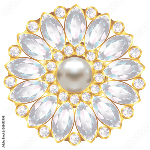Canvas Brooch with pearl and diamonds