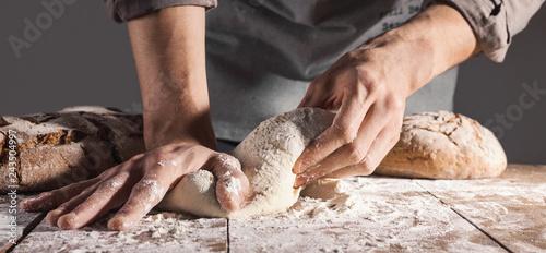 Fotografia Chef making fresh dough for baking