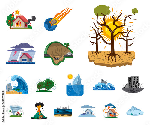 Isolated object of natural and disaster sign. Collection of natural and risk vector icon for stock. Fototapete