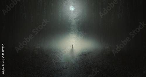Fotografie, Tablou Surreal horror scene with alone strange man in dark night forest