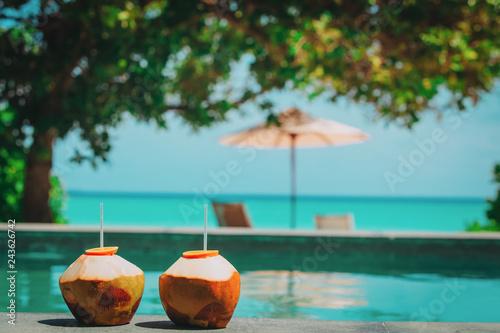 Fotografie, Obraz two coconut drinks on tropical beach resort