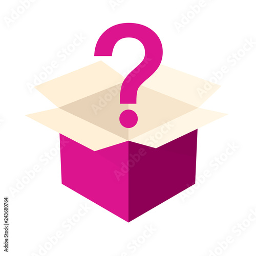 Canvas Print Open pink mystery box icon