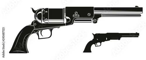 Foto Graphic black and white detailed silhouette old revolver