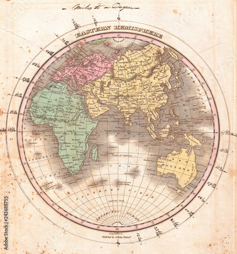 Old Map of the Eastern Hemisphere, Asia, Australia, Europe, Africa, Anthony Finley mapmaker of the United States in the 19th century, 1827, Finley