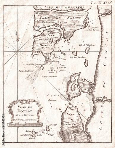 Fototapeta 1764, Bellin Map of Bombay, Mumbai India