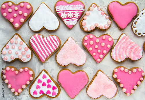 Gingerbread cookies with pink glaze Valentine's Day