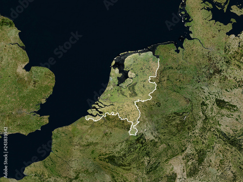 Photo Satellite image of the Netherlands with borders (Isolated imagery of the Netherlands