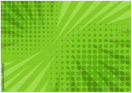 Fotografia Abstract bright green striped retro comic background with halftone corners and scratches