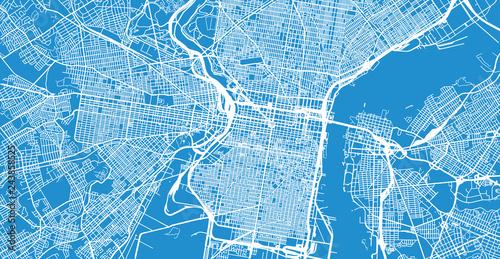 Fotografie, Tablou Urban vector city map of Philadelphia, Pennsylvania, United States of America
