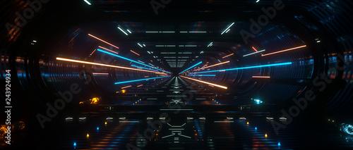 Obraz na plátně Dark Spaceship interior bridge corridor