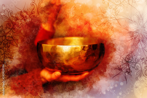 Photographie beautiful tibetian bowl with ornament and softly blurred watercolor background