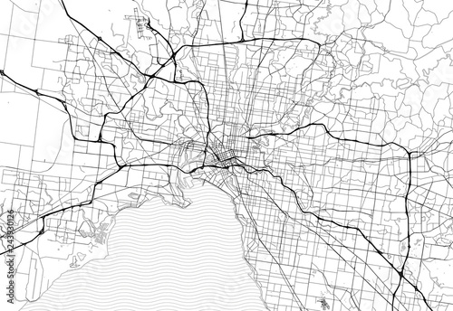Fototapeta Area map of Melbourne, Australia