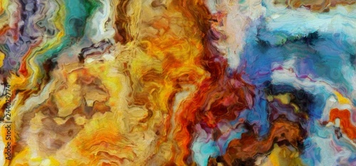 Dynamic hand-painted colorful abstract background. Amazing grunge original texture. Textured paint strokes on canvas. Simple close up backdrop. Beauty chaotic color splashes. Retro vintage style.
