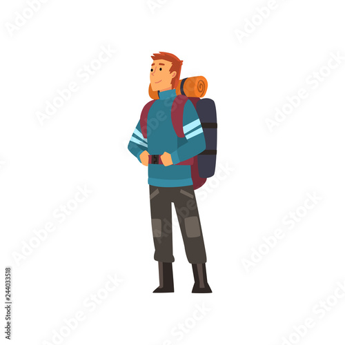 Man with backpack, hiking adventure travel, backpacking trip or expedition vecto Fototapeta