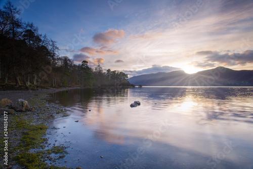 Canvas Print sunset at derwent water lake district england uk